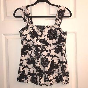 Ann Taylor black and white floral Tank top, size M